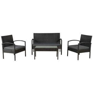 Juskys Polyrattan Gartenmöbel-Set Trinidad schwarz – Sitzgruppe mit Tisch, Sofa & 2 Stühlen - Balkonmöbel für 4 Personen mit creme-weißen Auflagen