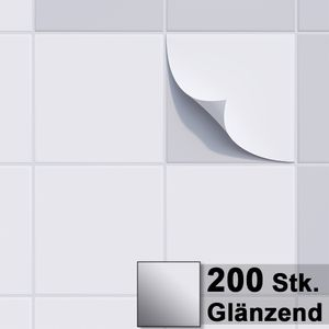 1PLUS Fliesenaufkleber Fliesensticker, 20x20cm, selbstklebend - Fliesen-Folie , Sets:200 Stück, Fliesenaufkleber Farbe:glänzend weiss
