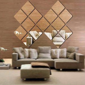 40X Spiegel Fliesen Wandaufkleber Platz selbstklebende Zimmer Dekor Stick auf 15