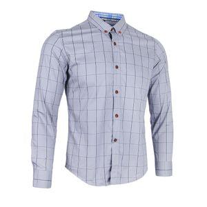 Klassisches Mehrfarbiges Langarm Business Hemd Aus Baumwolle Mit Schottenmuster Grau 2XL
