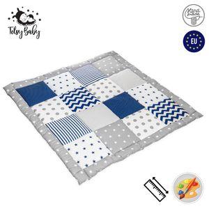 Krabbeldecke Patchwork Spieldecke Baby - Patchworkdecke als laufgittereinlage groß gepolstert 120x120 cm, Blau-Grau