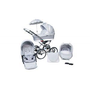 PolBaby Skyline Multifunktionaler Kinderwagen Classica Lux Retro 3in1 Räder 14' Hellgrau-Weiß
