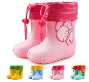 Gummistiefel-Kinder Uni Eva Regenstiefel Schadstofffreie mit Motiven und Kordelzug, 02 Pink mit Kordelzug 26EU