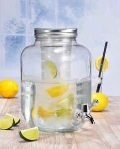 Getränkespender Glas Zapfhahn Fruchteinsatz Wasserspender Saftspender Karaffe 4L