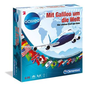 Clementoni - Mit Galileo um die Welt - Brettspiel Familienspiel Wissensspiel Pro7