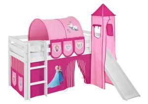 Lilokids Spielbett JELLE Eiskönigin Rosa - Hochbett - weiß - mit Turm, Rutsche und Vorhang, Maße: 208 cm x 113 cm x 98 cm; JELLE3054KWTR-FROZEN-R