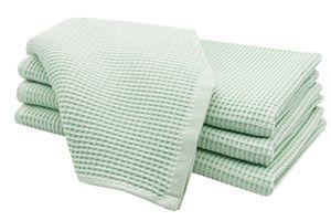 4er Set Geschirrtücher, Baumwolle, 50x70 cm, Waffelpique, lind (grün)