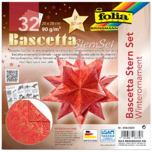 folia Faltblätter Bascetta-Stern 200 x 200 mm 90 g/qm 32 Blatt rot bedruckt