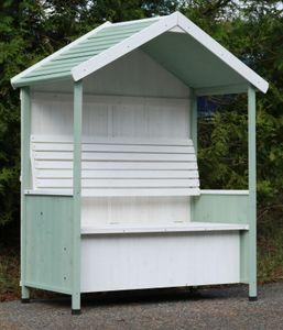 Garten Bank überdacht Gartenhaus Sitzbank Auflagenbox Rosenbank Philosophenbank