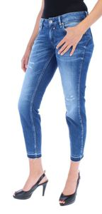 HERRLICHER TOUCH CROPPED CASHMERE TOUCH Damen Jeans 5-Pocket mit offenem Saum, Größe:28, Herrlicher Farben:Mariana Blue Destroy 834