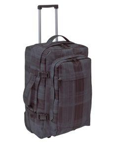 Reisetasche mit 2 Rollen GRAU Checker Reisetrolley 35L Trolley 52x32x33cm 2,8 kg