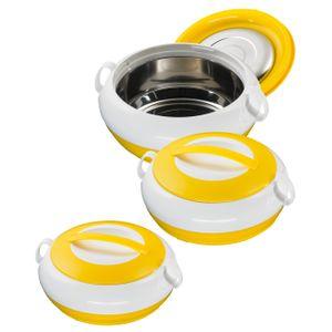 3/6tlg. KING® Thermobehälter-Set NOBLE / Fassungsvolumen: 1000, 1300, 2300 ml / Farbe: Gelb / weiß
