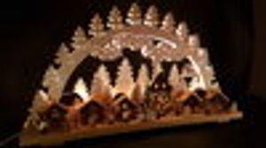 Schwibbogen Weihnachtsmarkt 74x43cm mit Figuren Neuheit 2020