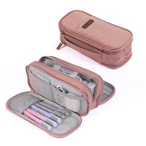 Federmäppchen 3 fach Schulmäppchen Große Aufbewahrung Farbe Bleistift Tasche Tragbar für Schule Mädchen Jungen Büro Damen Geschenk - rosa