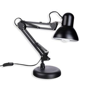 Schramm Retro Schreibtischlampe in schwarz aus Metall mit Gelenkarm Arbeitslampe ohne Glühbirne Bürolampe Lampe Lampen