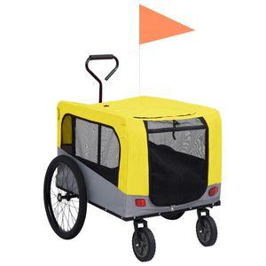 vidaXL 2-in-1 Tier-Fahrradanhänger und Jogger Gelb und Grau