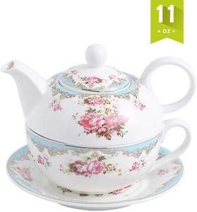 MALACASA, Serie Sweet.Time, Porzellan Teeservice Teeset mit Tasse und Untersetzer Blumen-Motiv Teekannen & Kaffekannen