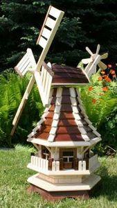 Windmühle, Gartenwindmühle aus Holz mit Solar braun Typ 2