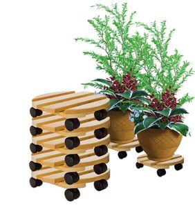 5x Pflanzenroller rund Buchenholz massives Holz 30 cm bis 120 Kg Rolluntersetzer