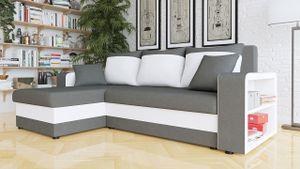 Mirjan24 Ecksofa Fano Design Eckcouch Couch mit Zwei Bettkasten und Schlaffunktion L-Form Sofa Seite Universal vom Hersteller (Alova 36 + Soft 017)