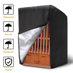 Elegant Schutzhülle Strandkorb Abdeckung für Strandkorb aus 420D Oxford Gewebe Wasserdicht und Winterfest Strandkorbhülle 135x105x175/140cm