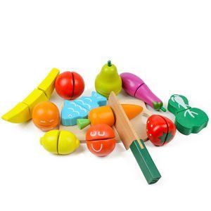 Kinderspielzeug zum Schneiden von Gemüse und Obst, Frühpuzzle, Holzsimulationsspielzeug zum Schneiden von Obst