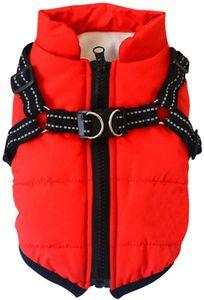 Hundejacke Winterweste Jacken Hundemantel Hundepullover Haustier Skifahren Kostüm Ärmellose Baumwolle Gepolsterte Weste Mit Brustgurt Gurt, M, Rot