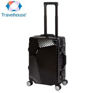Travelhouse Roma - Handgepäck - Schwarz, Polycarbonat Hartschale, Alu-Rahmen