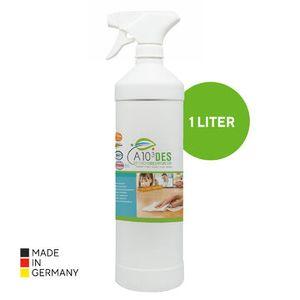 Apuro A10³ DES 1L Desinfektionsmittel für Flächen 1000ml Flächen-Desinfektion ohne Alkohol, Hand-Hygiene ohne Duftstoffe, ohne Farbstoffe, ohne Schadstoffe; Desinfektionsmittel zur hygienischen Reinigung von Oberflächen