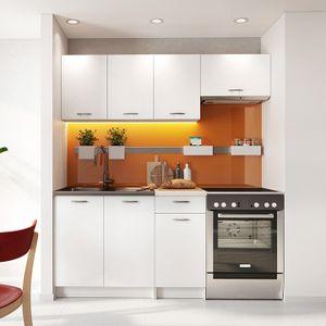 Mirjan24 Küche Mela 180, Küchenzeile, 5 Schrank-Module frei kombinierbar, Küche-Set, Küchenmöbel (Weiß/Petra Beige)