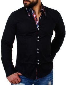 Carisma Herren Kontrast Kragen Manschetten Hemd SlimFit Casual Freizeit tailliert körperbetonte figurbetonte Passform langarm Männer Shirt, Grösse:S, Farbe:Schwarz