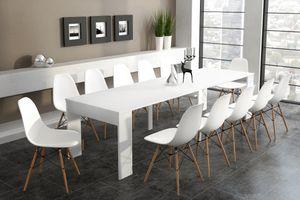Ausziehbarer Esstisch, ausziehbar bis 301 cm, weiß lackiert, Maße (unausgezogen): 90 x 49 x 75 cm Höhe.