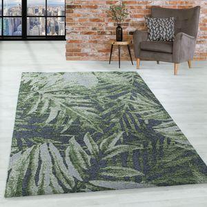 Kurzflor Teppich Wohnzimmerteppich Dschungel Vintage Muster Handgemacht Grün, Grösse:160x230 cm, Farbe:Grün