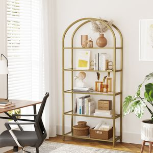 VASAGLE Bücherregal mit 5 Ebenen 183,5 cm hoch Standregal aus Hartglas Metallrahmen stabil einfach Aufbau bogenförmig golden LGT050A01