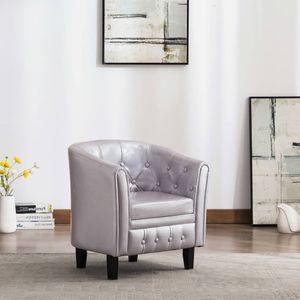 Moderne - Chesterfield-Sessel Sofa Stuhl Silbern Kunstleder