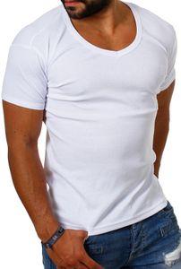 Young & Rich Herren Uni feinripp Basic T-Shirt tiefer runder V-Ausschnitt slimfit deep round V-Neck einfarbig 1874, Grösse:M, Farbe:Weiß