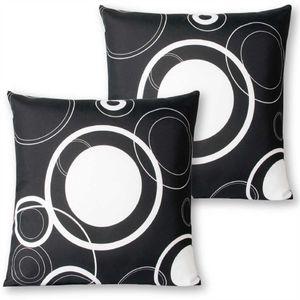 Dekokissen 2er Pack in der Größe ca. 30x30 cm, Farbe: Schwarz mit weißen Kreisen