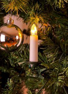 """Konstsmide - LED Baumkette, Topbirnen, """"One String"""", mit an/aus Schalter, 35  warm weiße Dioden, 24V Innentrafo, grünes Kabel; 1009-020"""