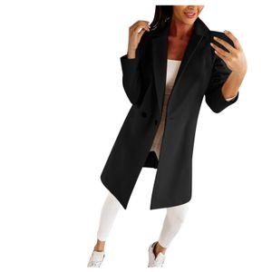 Mode Frau künstlicher Wollmantel Schlanke weibliche lange Mantel Oberbekleidung Jacke Größe:S,Farbe:Schwarz