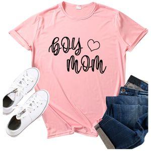 Damenmode Junge Mutter Muttertag Print O-Ausschnitt Kurzarm Top Shirt Größe:L,Farbe:Rosa