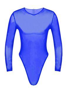 IEFIEL Herren Bodysuit Langarm Overall Durchsichtige Unterhemd Tank Top High Cut String Männerbody