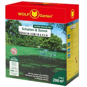 WOLF Garten Premium Rasen Schatten Sonne Saatgut Gartensamen Rasensamen, Fläche: 200m²