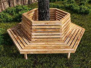 grosse Baumbank sechseckig aus Lärchenholz Baumbank - (3238)