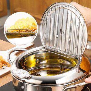Temperaturkontrolle Fritteuse Kompaktfriteusen, Mini Haushalt Fritteuse im japanischen Stil mit Topfdeckel Sieb