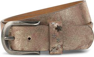 styleBREAKER Gürtel mit Stern Nieten an der Schließe, Nietengürtel, kürzbar, Unisex 03010082, Farbe:Antik-Gold, Größe:85cm