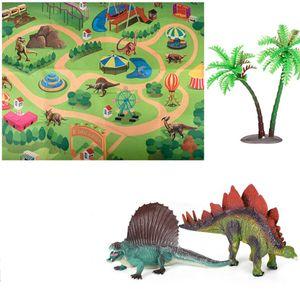 Dinosaurier Spielzeugfigur mit Spielmatte,Dinosaurier Spielzeug Set Dino Spielset Drache mit Teppich Spielmatte & Auto Lernspielzeug für Kinder
