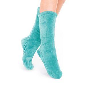 Socken Kuschelsocken Flauschsocken One Size Wintersocken Einheitsgröße Türkis