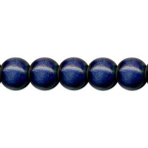 35 Holzperlen 12mm Perlen  basteln fädeln Holz sortiert blau
