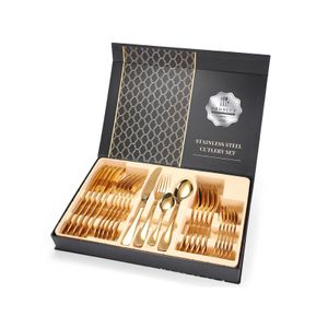 24 teiliges Besteckset Edelstahl Besteckset 6 Personen Geschenkbox gold glänzend poliert
