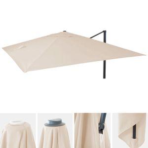 Bezug für Luxus-Ampelschirm HWC-A96, Sonnenschirmbezug Ersatzbezug, 3x3m (Ø4,24m) Polyester 2,7kg  creme